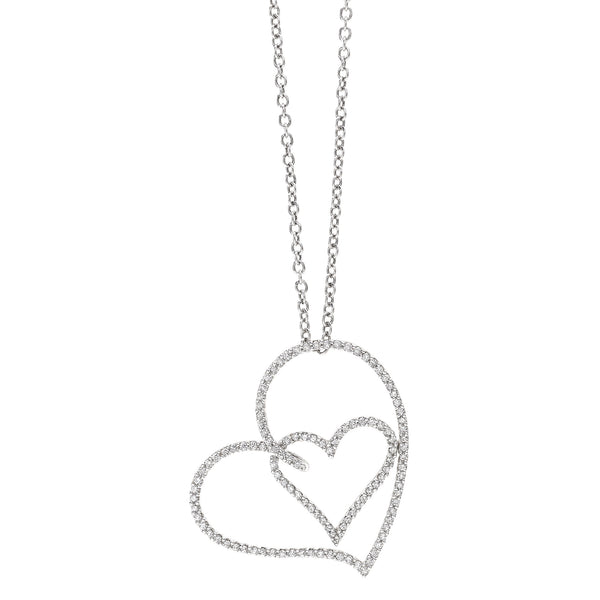 by Gianni Lazzaro 18 Karat White Gold Heart Pendant Necklace full of Sparkling Diamonds