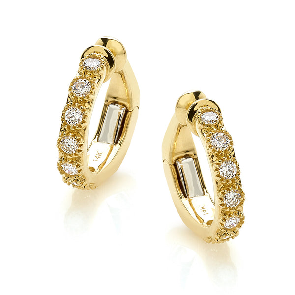 Round Diamonds Ear Cuff in 14 Karat Yellow Gold