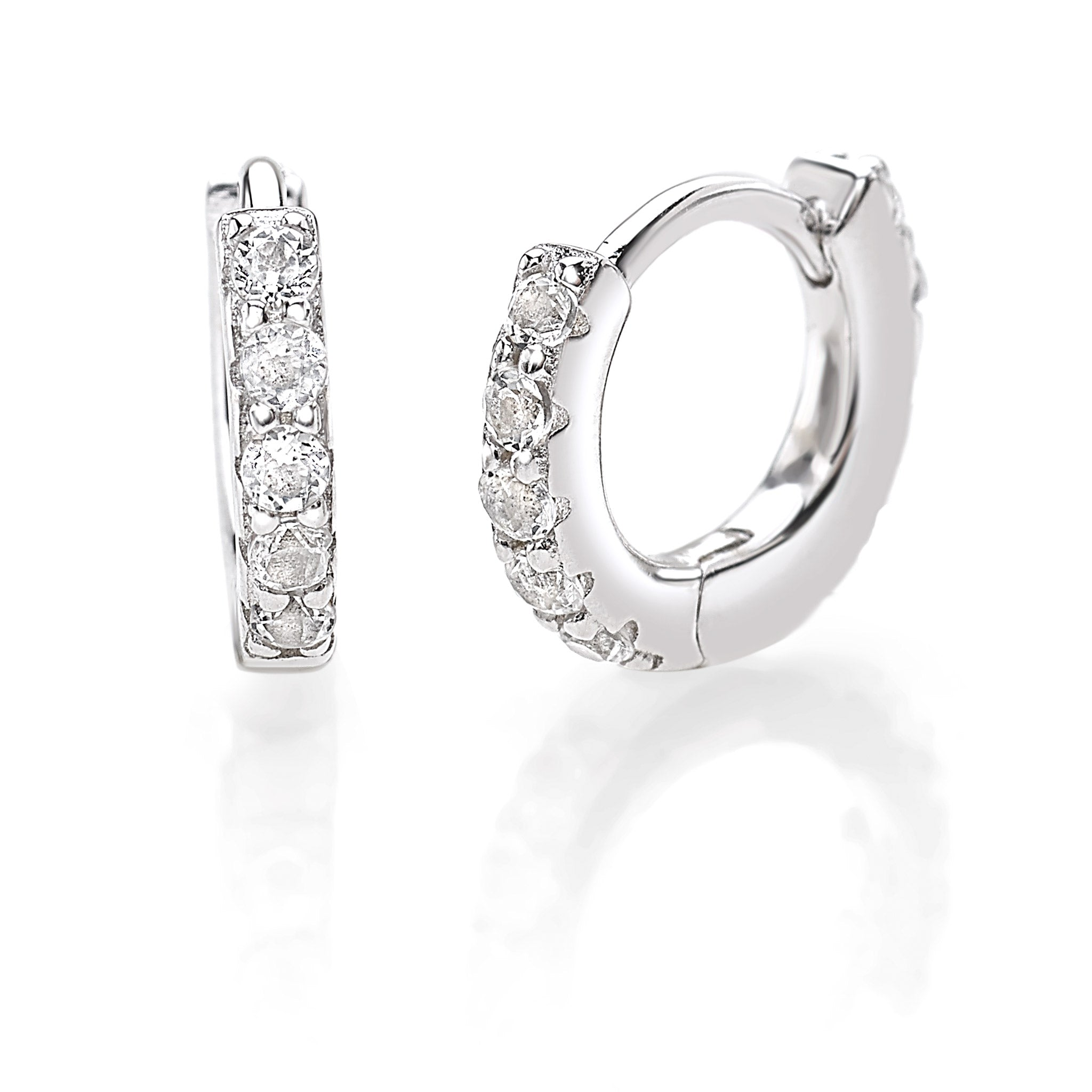 Rhodium Plated Ear Hoops in 925 Sterling Silver with White Topaz Gemstones