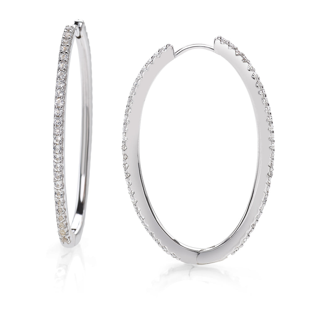 Rebel Sparkling Hoop Earrings 925 Sterling Silver Rhodium-Plated with White Topaz Gemstones