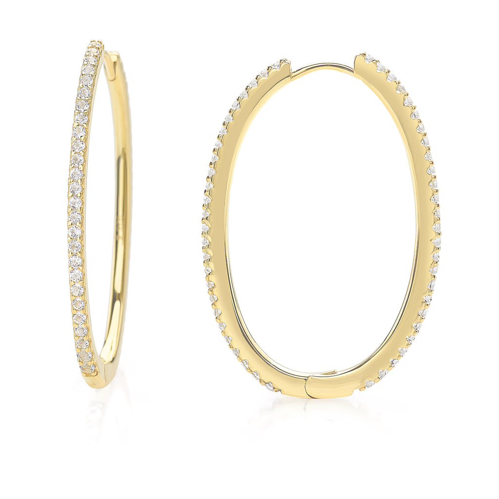 Rebel Sparkling Hoop Earrings 925 Sterling Silver with 18 Karats Yellow Gold-Plated with White Topaz Gemstones