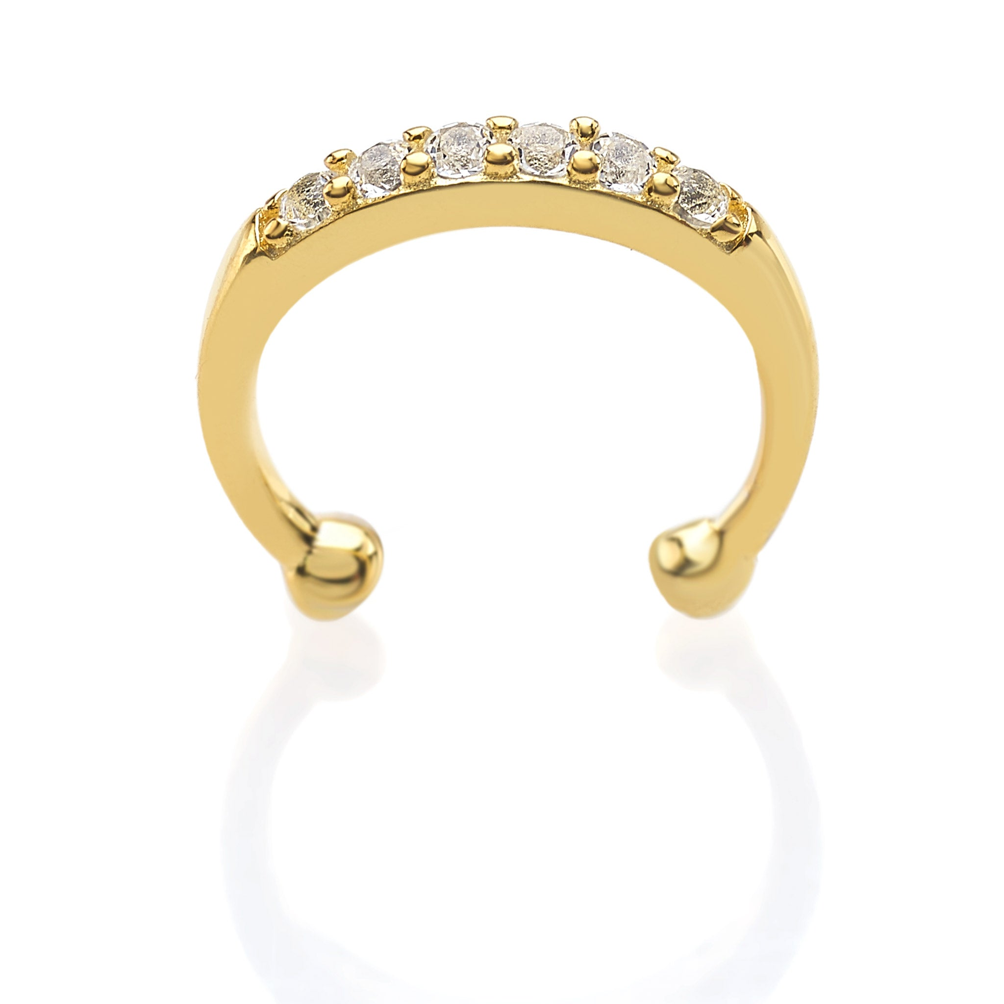 18 Karat Gold Plated Lip Ring in 925 Sterling Silver with White Topaz Gemstones