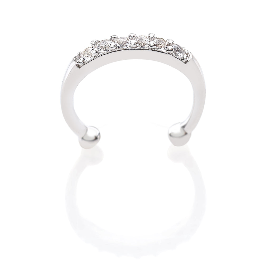 Rhodium Plated Lip Ring in 925 Sterling Silver with White Topaz Gemstones