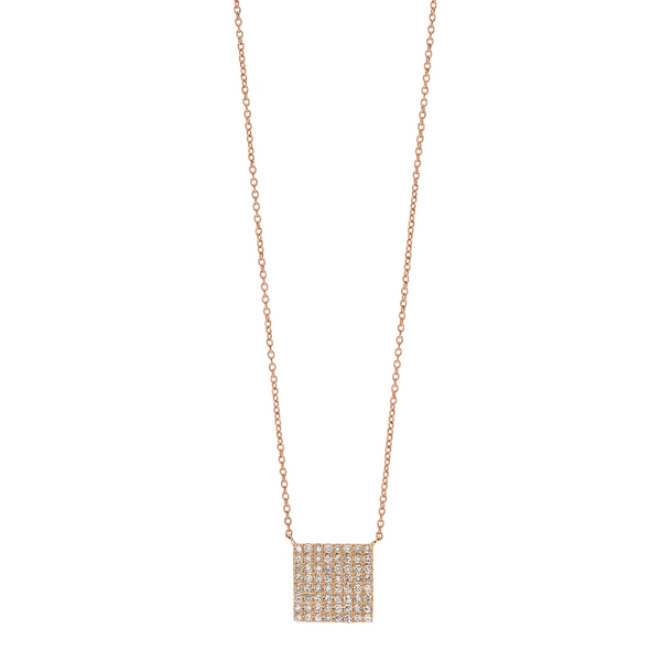 9 Karat Rosé Gold Cube shaped Necklace with Diamond Pavé