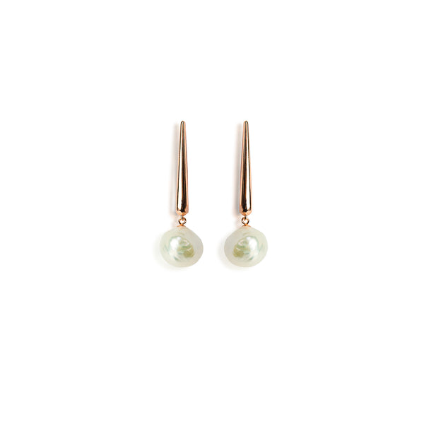 925 Sterling Silver 14 Karat Rose Gold Plated Earrings with Baroque Pearls