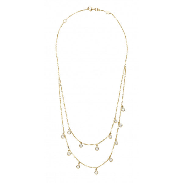 Bahia Round White Topaz 14 Karat Yellow Gold Layering Look Shaker Necklace