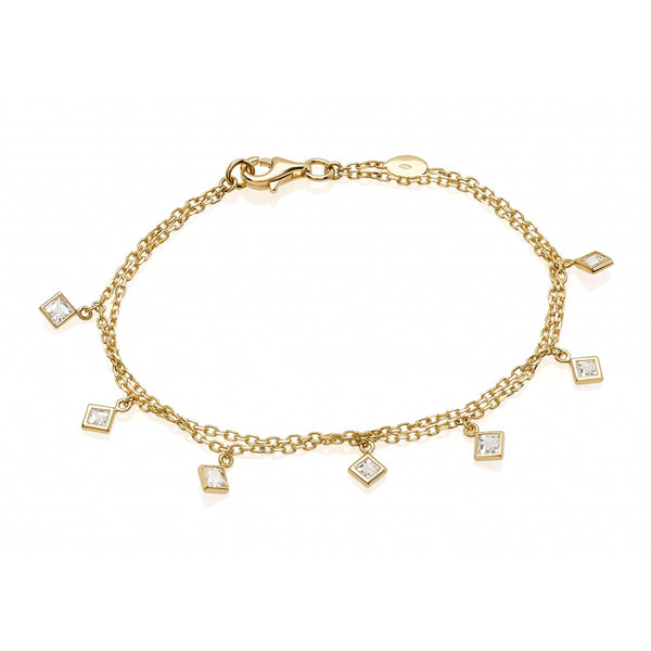 Bahia Square White Topaz 14 Karat Yellow Gold Double Chain Shaker Bracelet