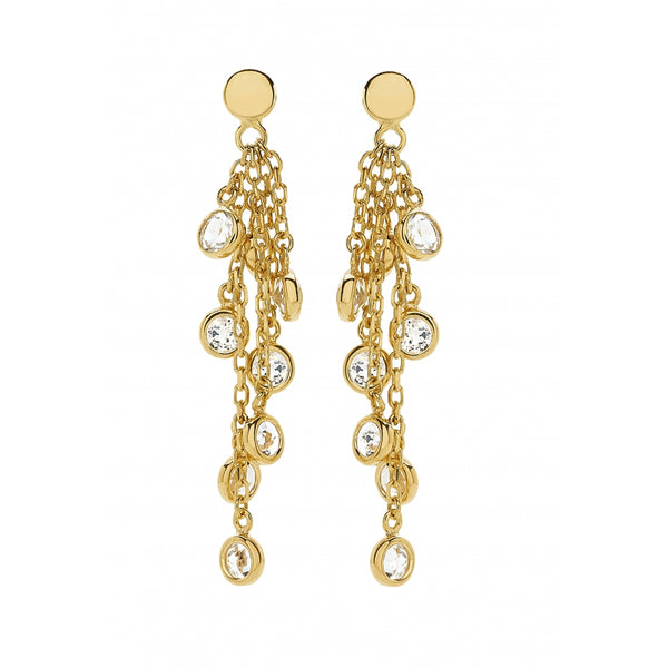 Bahia Hanging Round White Topaz 14 Karat Yellow Gold Earrings