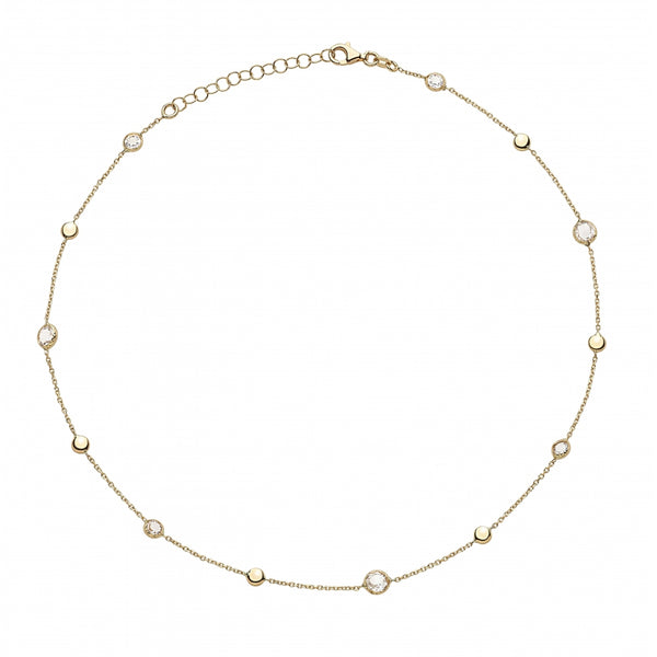 Bahia Round White Topaz 14 Karat Yellow Gold Choker Necklace