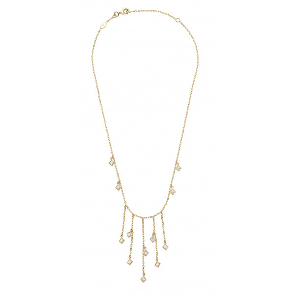 Bahia Square Hanging White Topaz 14 Karat Yellow Gold Layering Look Shaker Necklace