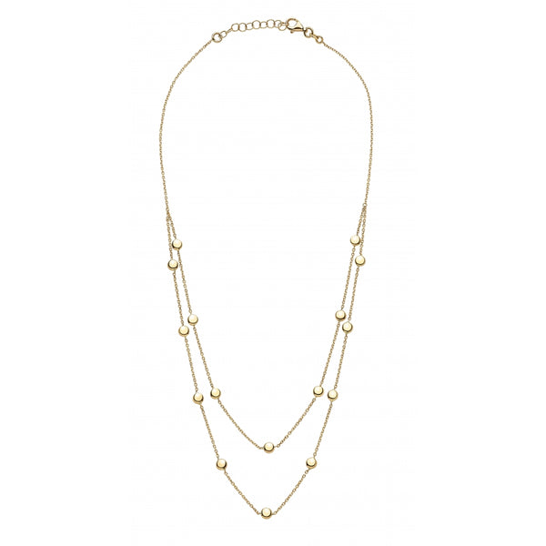 Bahia Round 14 Karat Yellow Gold Plates Layering Look Necklace
