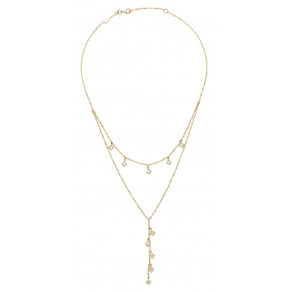 Bahia Square White Topaz 14 Karat Yellow Gold Layering Look Shaker Y- Necklace