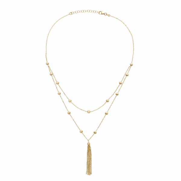 Bahia Round 14 Karat Yellow Gold Plates with Tassels Layering Look Necklace