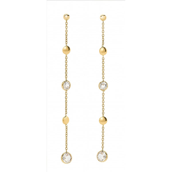 Bahia 4 Round White Topaz and Plates 14 Karat Yellow Gold Earrings
