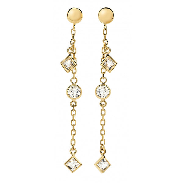 Bahia Round and Square White Topaz 14 Karat Yellow Gold Shaker Earrings