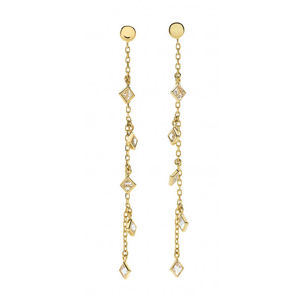 Bahia Square Shaped Hanging White Topaz 14 Karat Yellow Gold Long Earrings