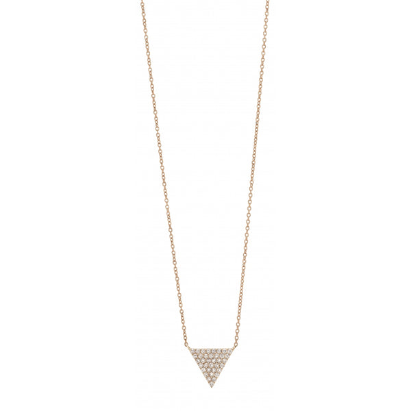 9 Karat Rosé Gold Small Triangle shaped Necklace with Diamond Pavé
