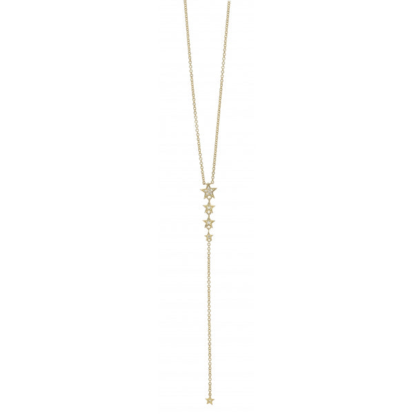 5 Star Y-Necklace in 14 Karat Gold with Diamonds