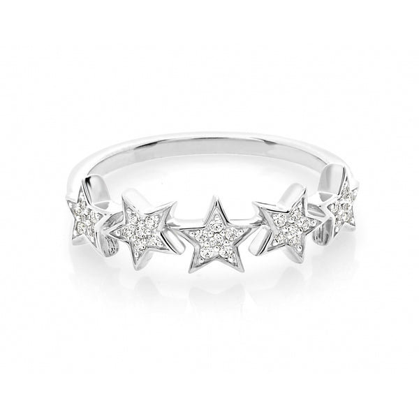 5 Stars Diamond Pavé Ring in 14 Karat White Gold
