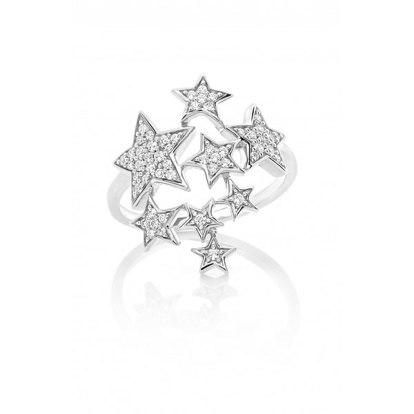 Falling Stars full of Diamonds Ring in 14 Karat White Gold