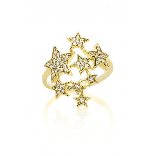 Falling Stars full of Diamonds Ring in 14 Karat Gold