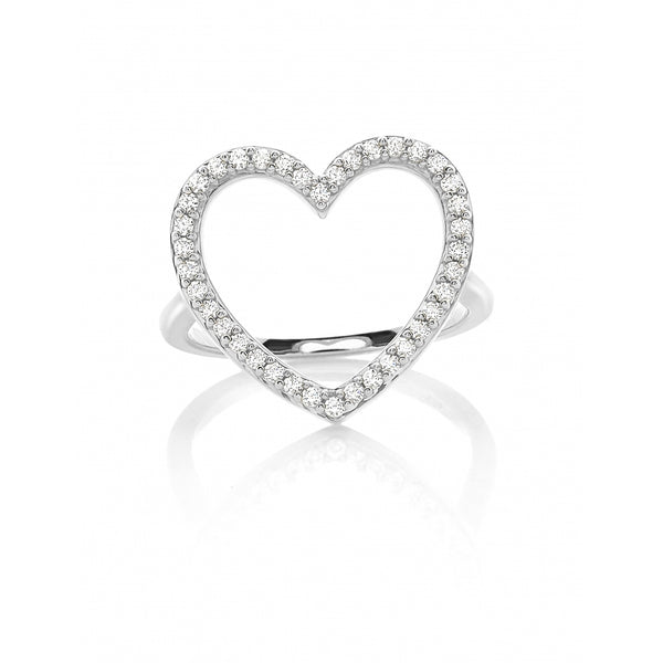 Diamond Pavé Heart Ring in 14 Karat White Gold