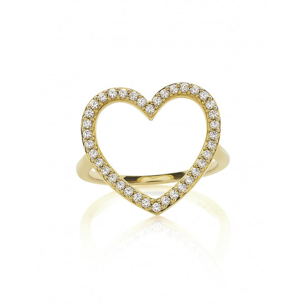 Diamond Pavé Heart Ring in 14 Karat Gold