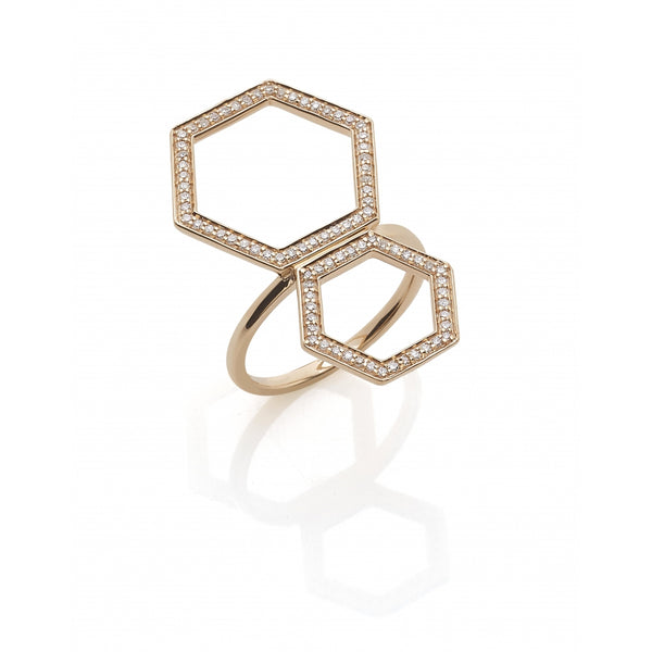 Honey Comb open Ring with Diamonds in 14 Karat Rosé Gold