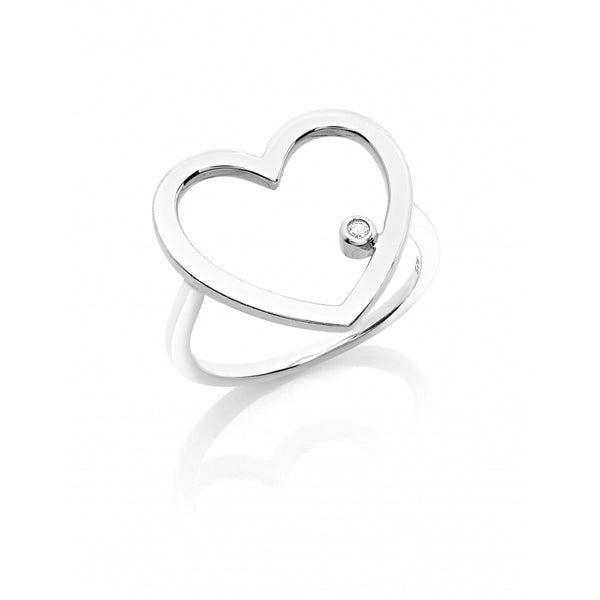 One Diamond Open Heart Ring in 14 Karat White Gold