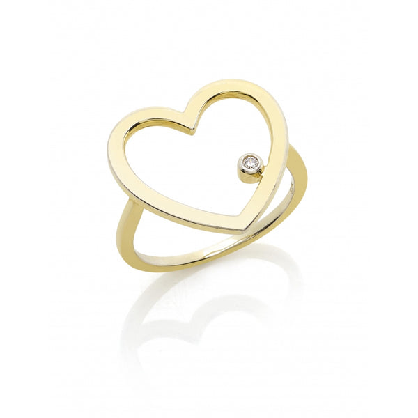 One Diamond Open Heart Ring in 14 Karat Yellow Gold
