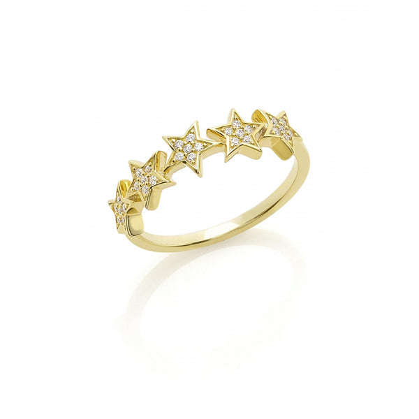 5 Stars Diamond Pavé Ring in 14 Karat Yellow Gold
