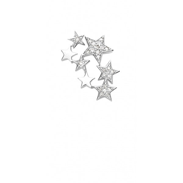 Falling Stars full of Diamonds Ear Stud in 14 Karat White Gold