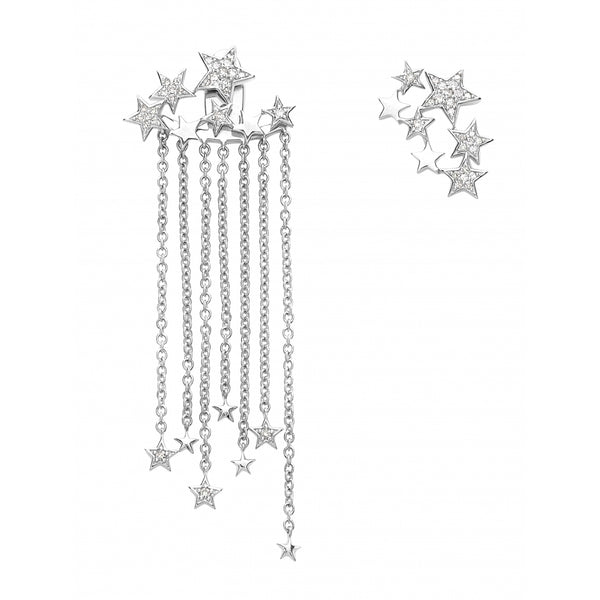 Falling Stars full of Diamonds Earrings in 14 Karat White Gold (2 Ear Studs and 2 Back Parts)
