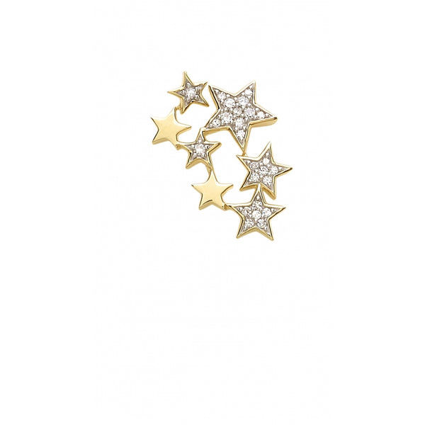 Falling Stars full of Diamonds Ear Stud in 14 Karat Gold