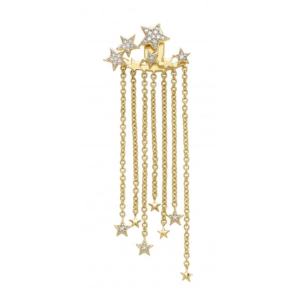 Falling Stars full of Diamonds Single Earring in 14 Karat Yellow Gold