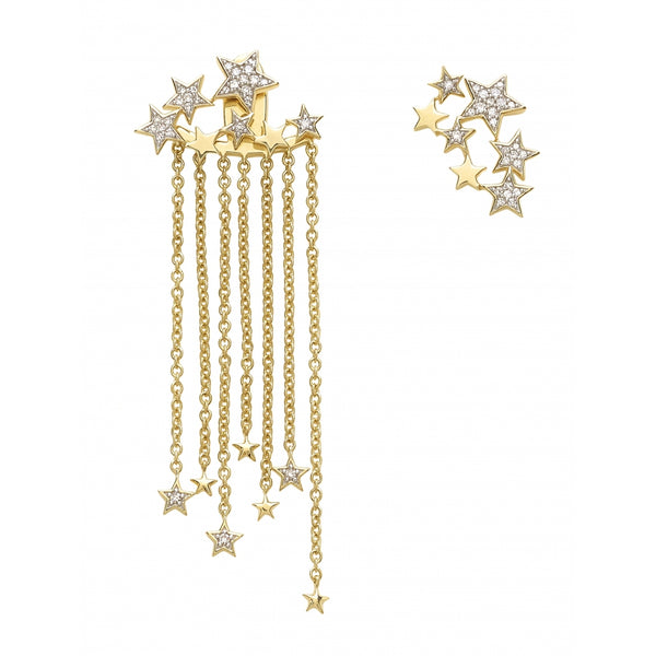 Falling Stars full of Diamonds Earrings in 14 Karat Yellow Gold (2 Ear Studs and 2 Back Parts)
