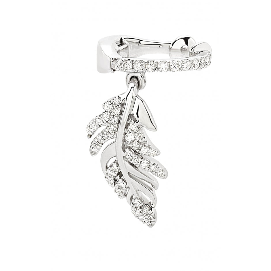Hanging Leaf Diamond Ear Cuff in 14k white gold