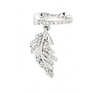 Hanging Leaf Diamond Ear Cuff in 14 Karat White Gold