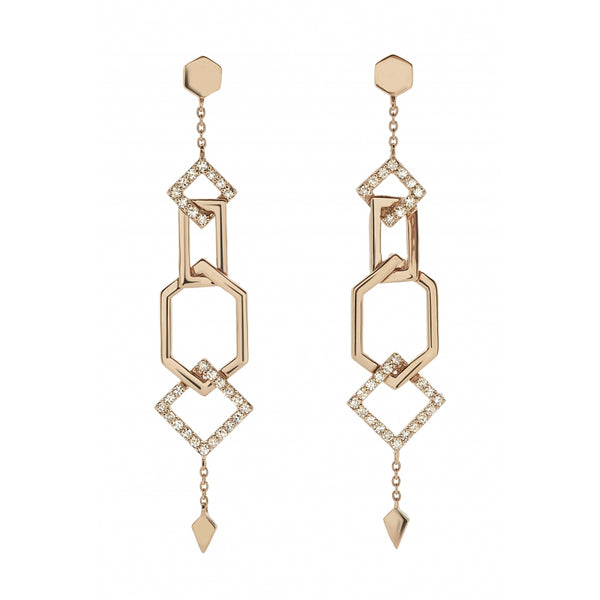 Honey Comb opulent Long Earrings with Diamonds in 14 Karat Rosé Gold