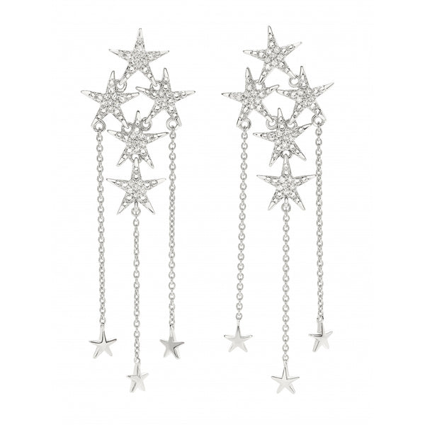 Diamond Pavé Falling Stars opulent Earrings in 14 Karat White Gold