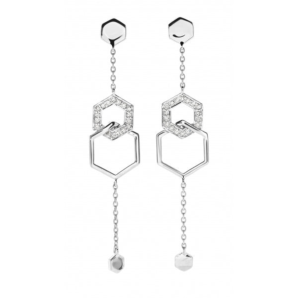 Honey Comb Earrings with Diamonds in 14 Karat White Gold