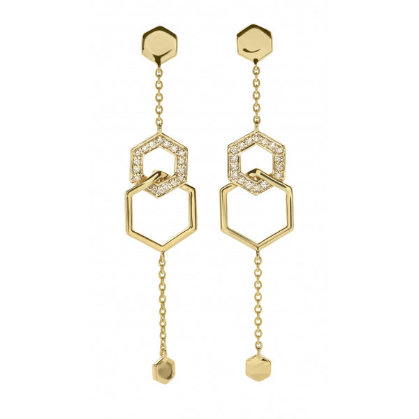 Honey Comb Earrings with Diamonds in 14 Karat Yellow Gold