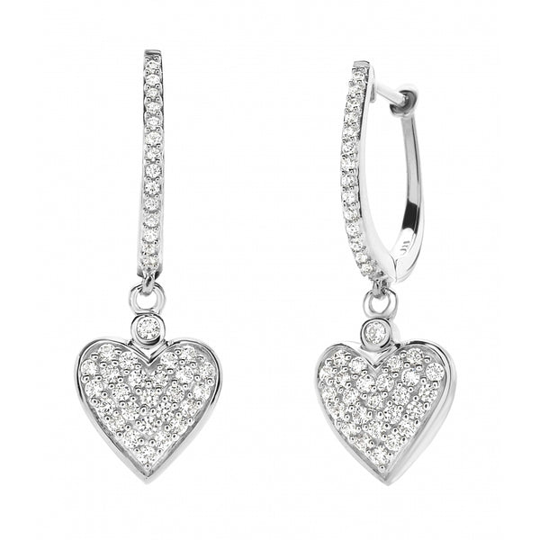 Heart shaped Diamond Pavé 14 Karat White Gold Earrings