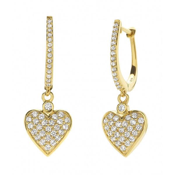 Heart shaped Diamond Pavé 14 Karat Gold Earrings