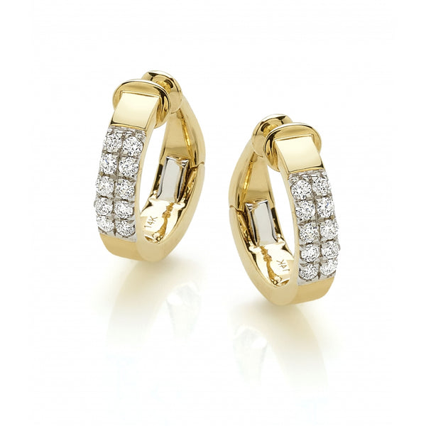 2 Rows Diamonds Ear Cuff in 14 Karat Yellow Gold