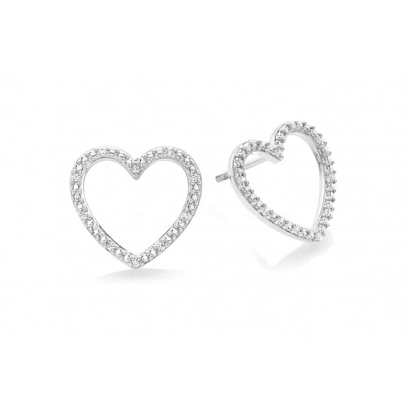 Diamond Pavé Heart Ear Studs in 14 Karat White Gold