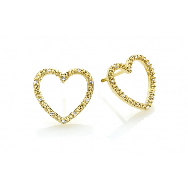 Diamond Pavé Heart Ear Studs in 14 Karat Gold