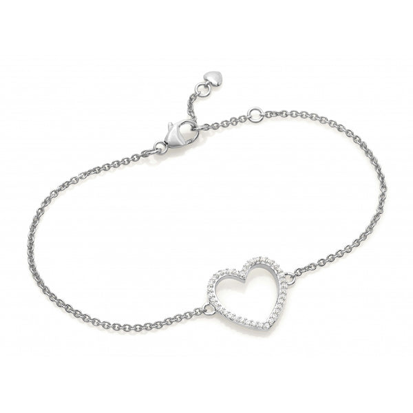 Diamond Pavé Heart Bracelet in 14 Karat White Gold
