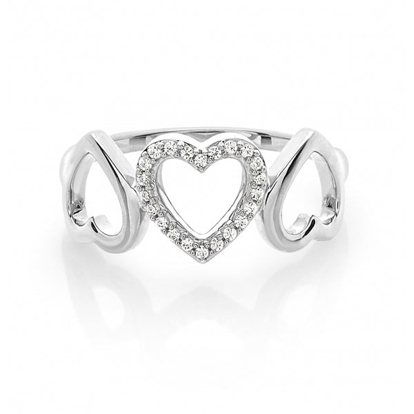 3 Open Hearts Diamond Ring in 14 Karat White Gold