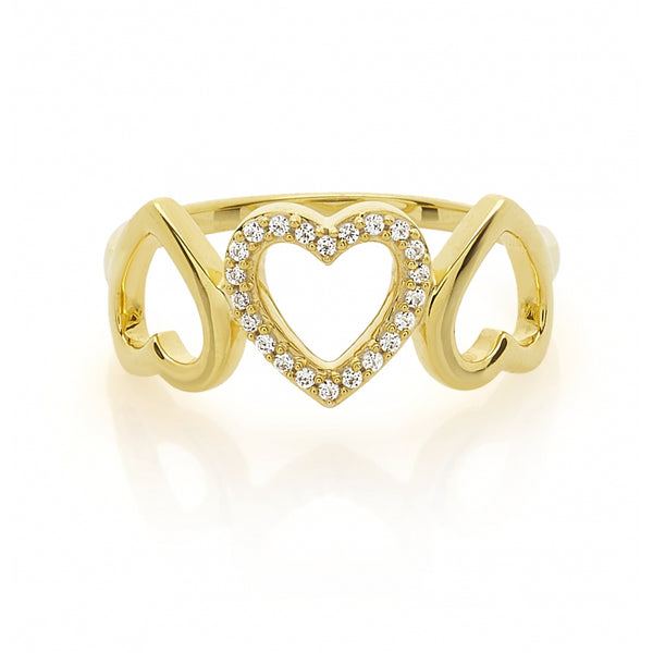 3 Open Hearts Diamond Ring in 14 Karat Yellow Gold